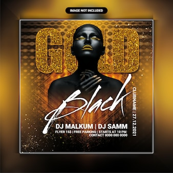 Gold black party flyer template