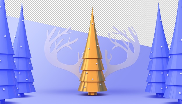 Gold and blue christmas tree 3d rendering