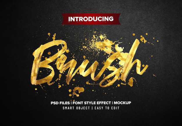 Gold brush font style text effect