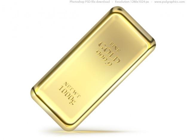 Gold bullion bar psd icon