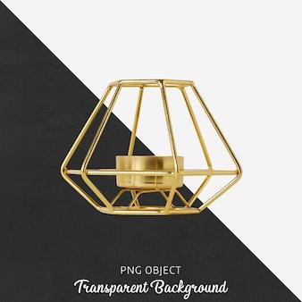 Gold candle holder on transparent
