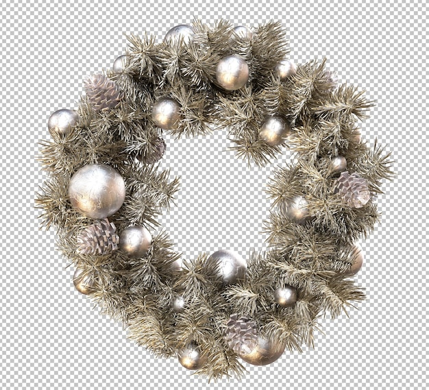 Gold christmas wreath frame. 3d rendering
