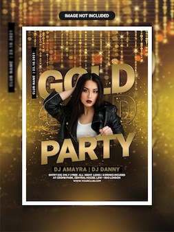 Gold club party flyer template or social media post