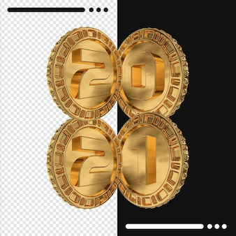 금화와 3d 렌더링에서 2021 새해 복 많이 받으세요