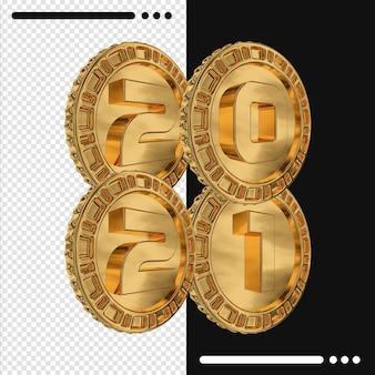 Золотая монета и с новым годом 2021 в 3d-рендеринге
