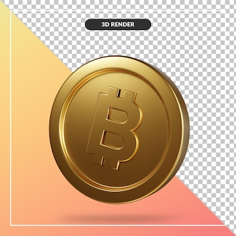 Золотая монета биткойн 3d-рендеринга изолированные