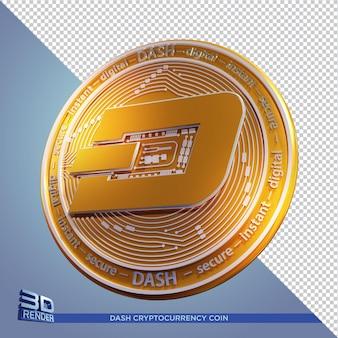 Золотая монета тире криптовалюты 3d рендеринга изолированные
