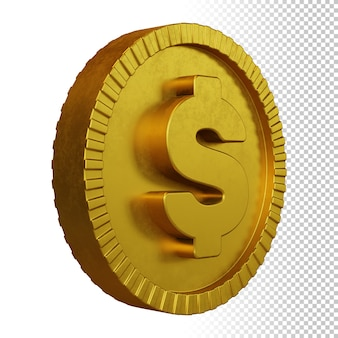 Gold coin dollar currency symbol 3d rendering isolated