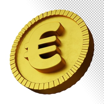 Gold coin euro currency symbol 3d rendering isolated