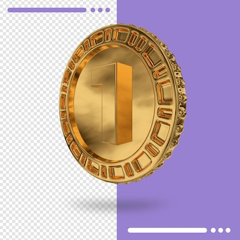 Gold coin and number in 3d rendering