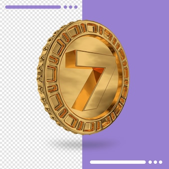Gold coin and number 7 3d rendering