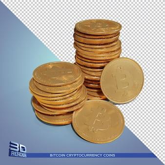 Золотые монеты bitcoin cryptocurrency 3d-рендеринга изолированные