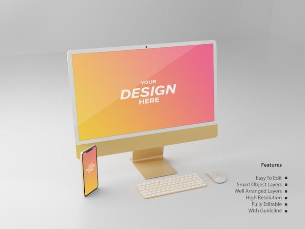 Экран рабочего стола золотого цвета и редактируемый макет экрана смартфона розового золота