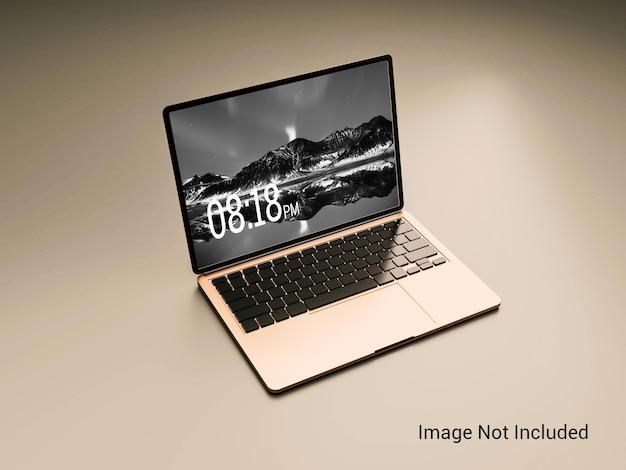 골드 컬러 노트북 화면 목업
