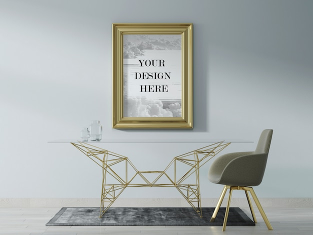 Gold colour wall frame mockup with modern furniture