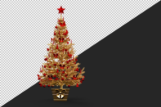 Gold coloured decorated christmas tree