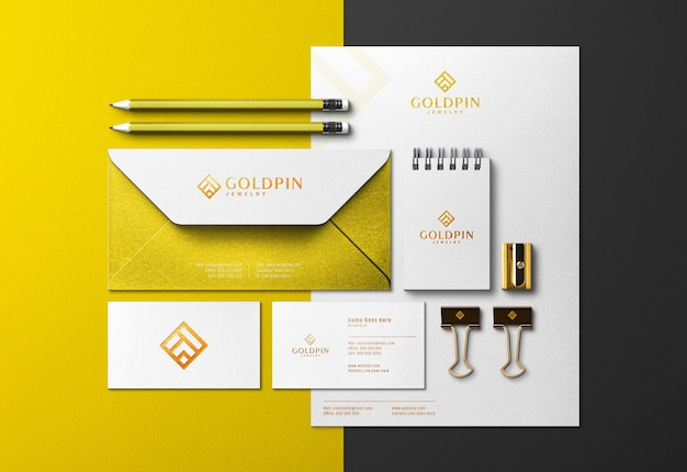 Gold corporate identity scene creator & mockup with pressed print effect