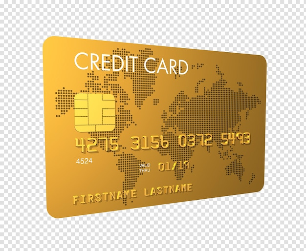 Gold credit card 3d render isolated