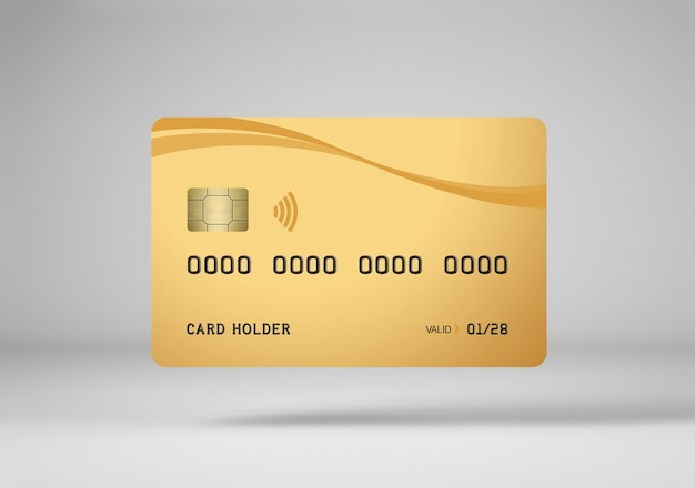 Gold credit card mockup isolated in 3d rendering
