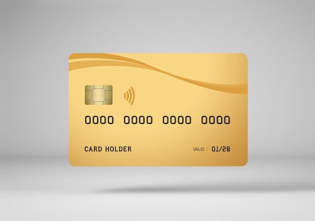3dレンダリングで分離されたゴールドクレジットカードのモックアップ