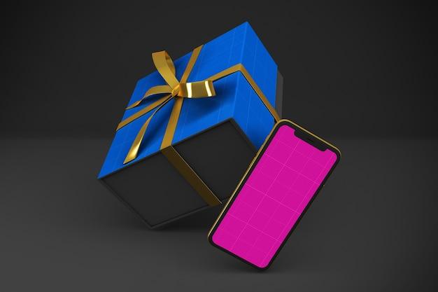 ゴールド&ダークショッピングアプリのモックアップ