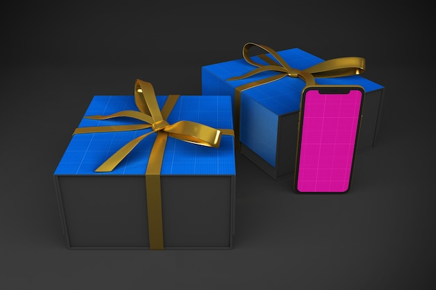 Мокап приложения gold & dark shopping