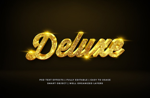 Gold deluxe luxury 3d text style effect