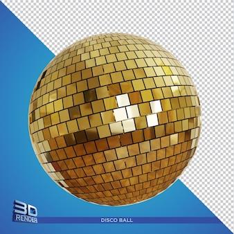 分離されたゴールドミラーボール3dレンダリング