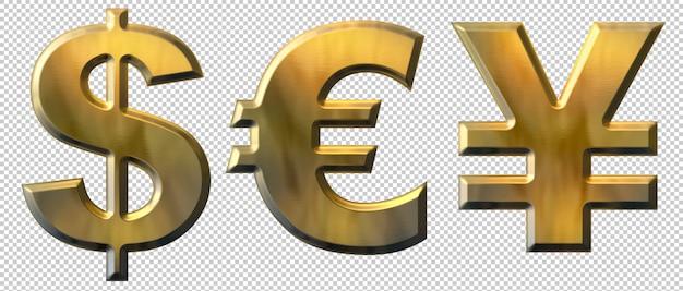 Gold dollar, euro and yen symbols