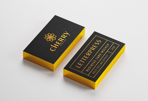 Gold edged business card mockup with letterpress