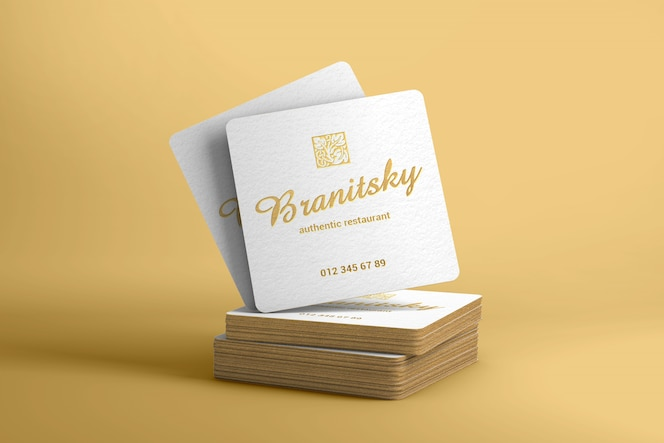 Gold edges square business card mockup