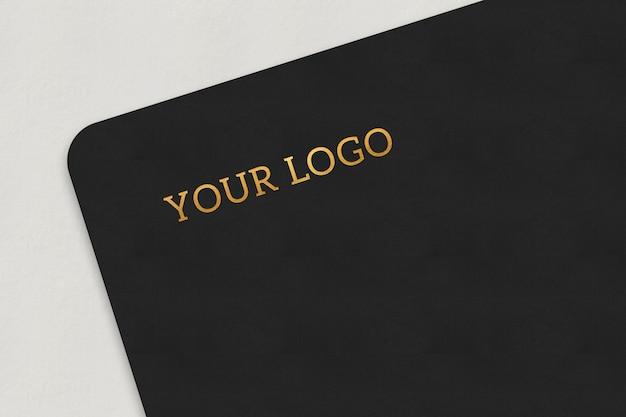 Голд эффект простой макет логотипа для презентации бренда и индивидуального дизайна