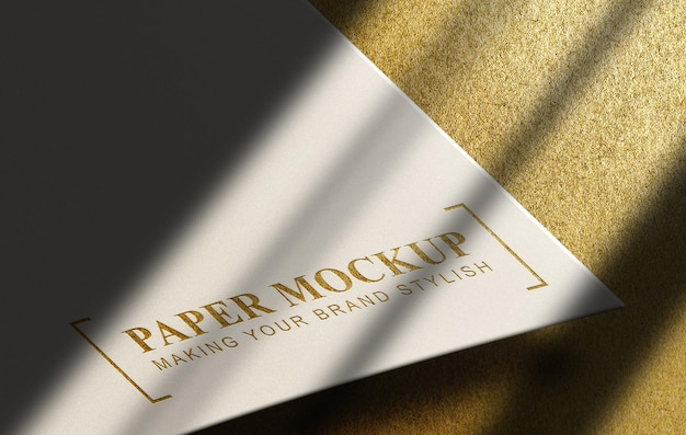 Gold embossed mockup with gold surface