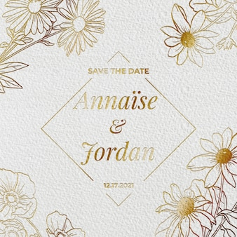Gold engraved wedding invitation
