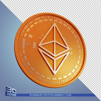 Золотая монета ethereum cryptocurrency 3d-рендеринга изолированные
