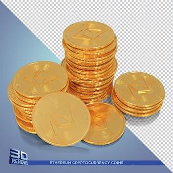Золотые монеты ethereum с криптовалютой 3d рендеринга изолированные
