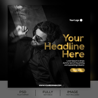 Gold fashion sale instagram post template