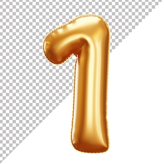 Gold foil balloon of 1 number 3d isolated