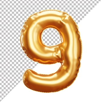 Золотой воздушный шар из фольги 9 номер 3d изолированные