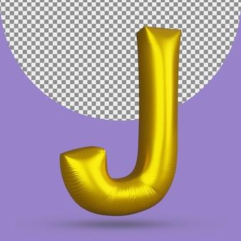 Воздушный шар из золотой фольги реалистичной буквы j 3d изолированные