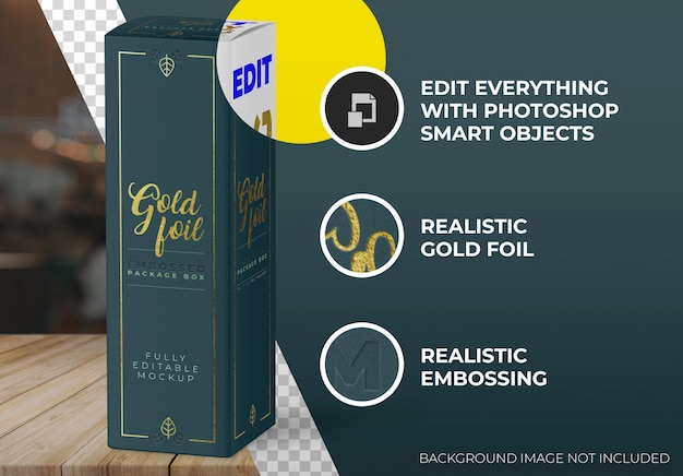 Gold foil box mockup