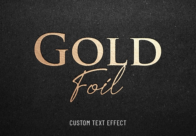 Gold foil hotprint text effect