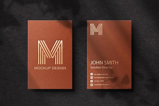 Gold foil logo mockup on brown business card