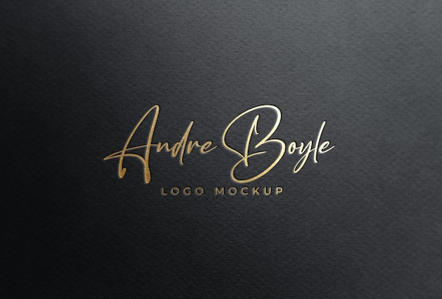 Мокап логотипа золотой фольги на черной бумаге