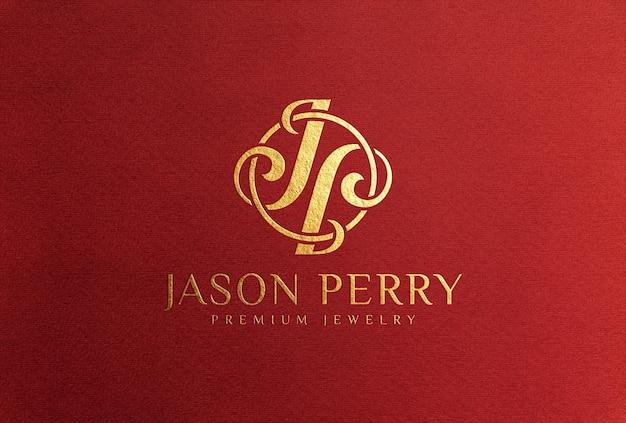 Gold foil logo mockup on red paper card
