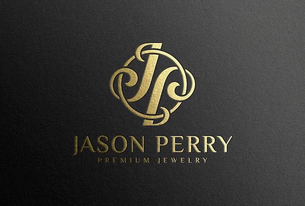 Мокап с логотипом из золотой фольги