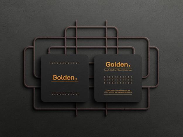 Макет роскошной визитки из золотой фольги