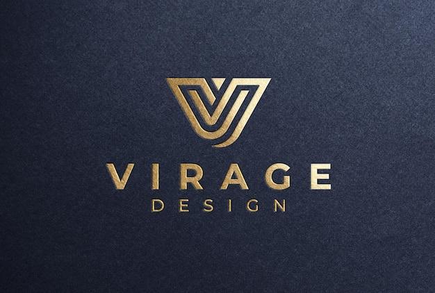Gold foil stamping logo mockup on black paper