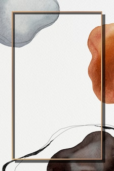 Золотая рамка на акварельном узоре фона макета