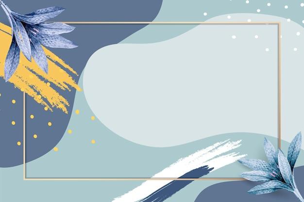 Gold frame psd on blue memphis pattern background